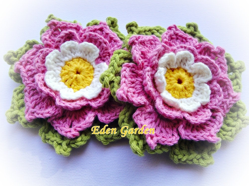 Set of Two Adelie Crochet Flower - mariamanuel