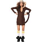 Halloween Women's Cozy Monkey Costume Small, Brown