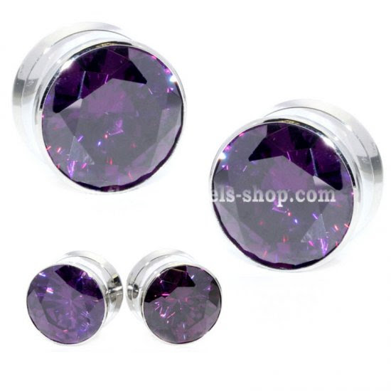 Huge Shape Brilliant Cut Purple Crystal Stone Silver Stainless Steel