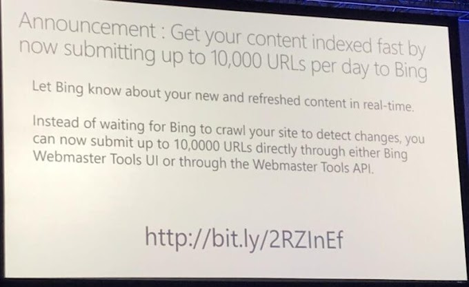 Bing lets webmasters submit 10,000 URLs per day through Webmaster Tools
