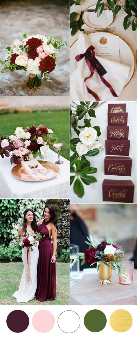 Six Beautiful Burgundy Wedding Colors In Shades of Gold