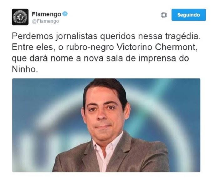 Flamengo homenagem Victorino Chermont (Foto: Reprodução/Twitter)