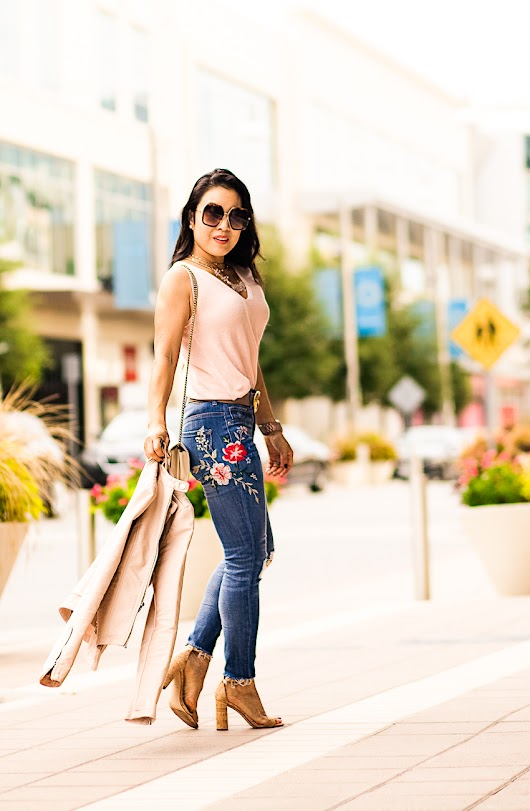 Elevating Your Basic Outfit With Embroidered Jeans - cute & little | Dallas Petite Fashion Blogger
