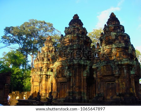 Siem Reap, Cambodia – November 06, 2014: Banteay Srey Temple during the sunset.