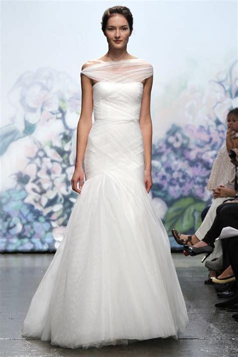 Monique Lhuillier wedding dress with sheer one shoulder