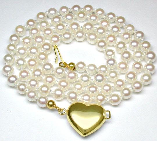 Foto 2, Zuchtperlen-Kollier Spitzen-Perlen! 4-4,5mm Luxus! Neu!, S7615