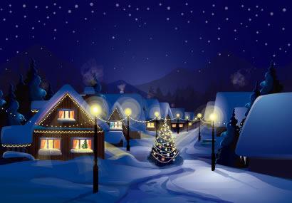 冬の町並みクリスマスツリーのイラストaieps ベクタークラブ