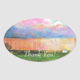 April Showers THANK YOU Oval Stickers sticker