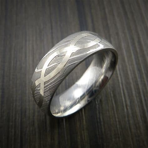 Damascus Steel 14K White Gold Celtic Knot Ring Infinity