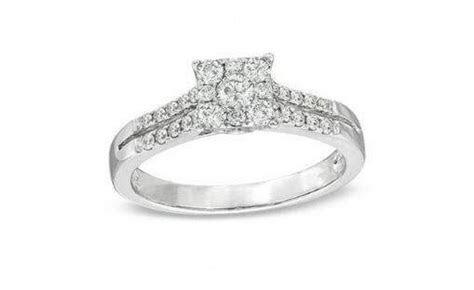 Zales 1/2 carat Princess Cut White Gold Diamond Engagement