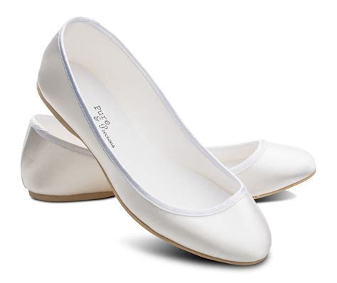 White Bridesmaids Flower Girl Wedding Bridal Pumps Flats