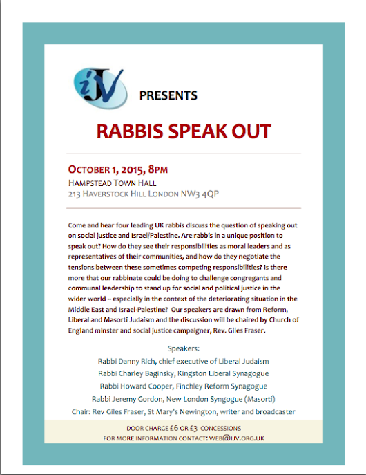 IJV Presents: Rabbis Speak Out, 1 October 2015, 8 PM, Hampstead Town Hall