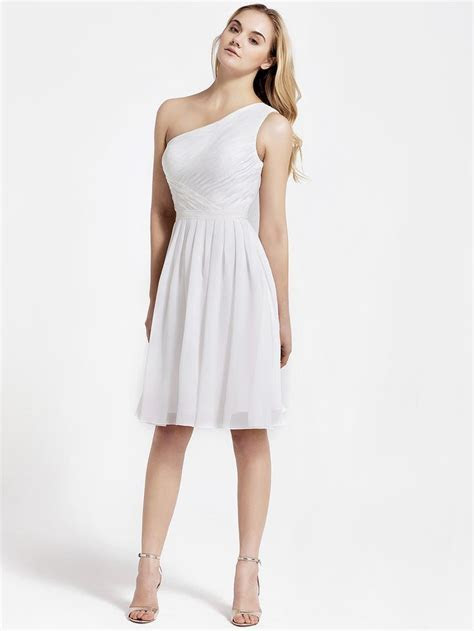 Cross Pleat One Shoulder dress Little white dress for the