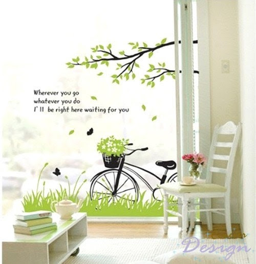 Spring Grass under Tree branch Butterfly Birds Bicycle----Removable Graphic Art wall decals stickers home decor