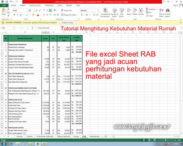 Contoh Rab Rumah Type 45 Excel - Barisan Contoh