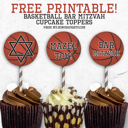Free Printable Basketball Bar Mitzvah Cupcake Toppers - My Jewish Party