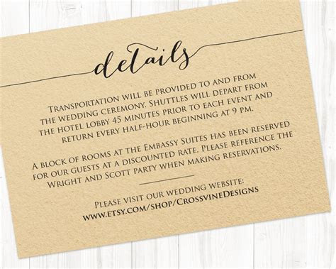 Details Card Template · Wedding Templates and Printables