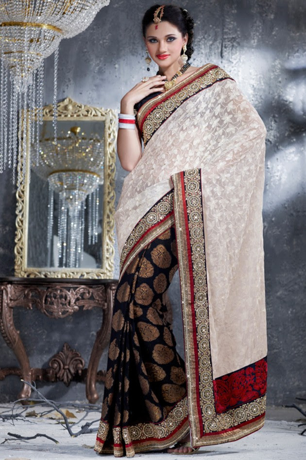 Indian-Brides-Bridal-Wedding-Party-Wear-Embroidered-Saree-Design-New-Fashion-Reception-Sari-8