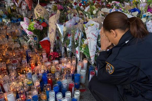 Prayers and Tears at Vigil for Slain Officers