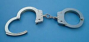 A pair of standard law enforcement handcuffs