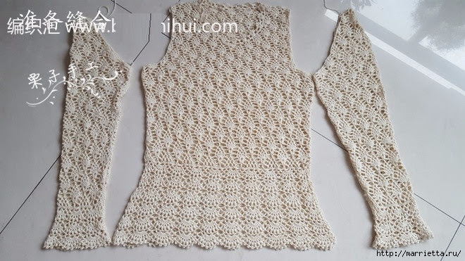 White openwork crochet blouse.  Diagrams (20) (660x371, 215Kb)