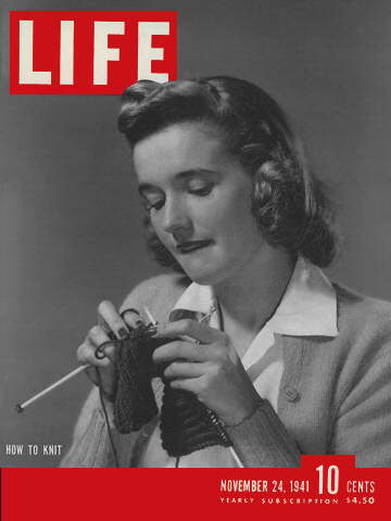 Life Magazine Cover Featuring How to Knit. 1941.