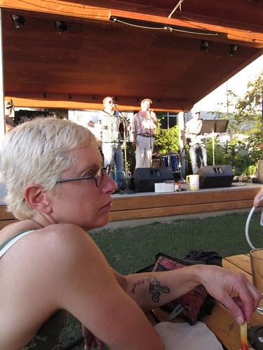 hanging in the beer garden; good band!