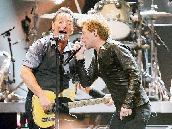 Bruce Springsteen and Jon Bon Jovi team at the 12-12-12 Sandy benefit concert