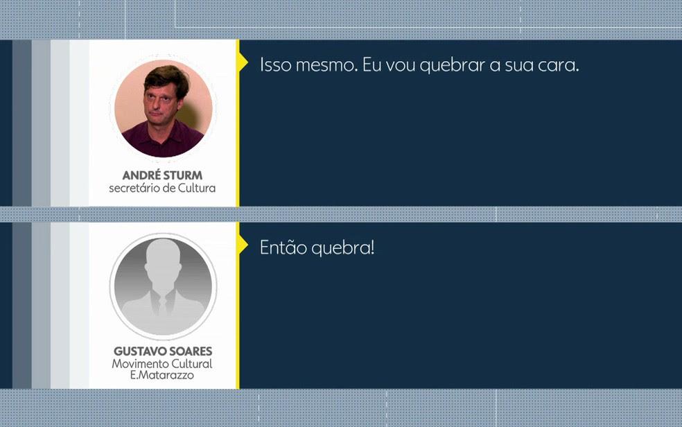 Secretário teve discussão com coordenador de movimento cultural (Foto: TV Globo/Reprodução)