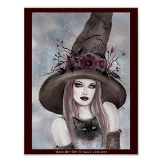 Halloween Witch with kitty poster by Renee Lavoie