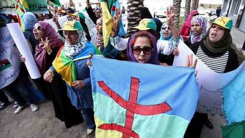 Berbers in Libya demonstrating outside the rebel parliament. Most groups in Occupied Libya are suffering since the overthrow of Gaddafi in 2011. by Pan-African News Wire File Photos