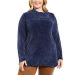 Karen Scott Womens Plus Chenille Split Collar Ribbed Sweater Blue 1X