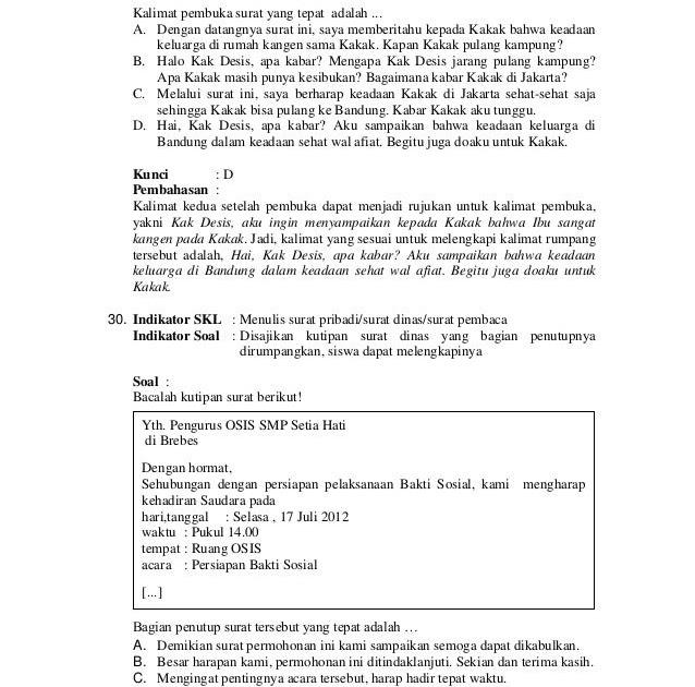 Contoh Soal Surat Pribadi Dan Surat Dinas - Bagi Contoh Surat