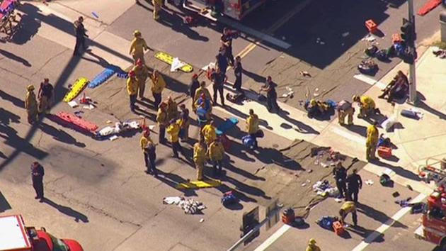 <div class='meta'><div class='origin-logo' data-origin='~ORIGIN~'></div><span class='caption-text' data-credit='ABC7/Twitter'>Dozens of people filed out of center, holding hands in air; others being treated.</span></div>