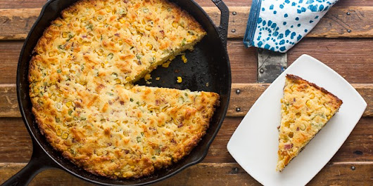 Skillet Cornbread with Bacon Cheddar and Green Onions - The Black Peppercorn