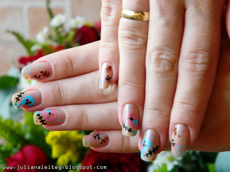 unhas da semana nail art rosa e azul noivado passarinho 004