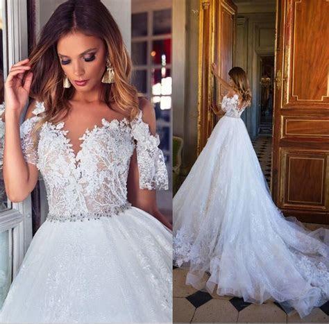 Discount Milla Nova 2018 Dubai Lace Wedding Dresses Cap