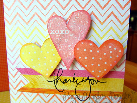 Zig Zag thank you hearts pink/orange