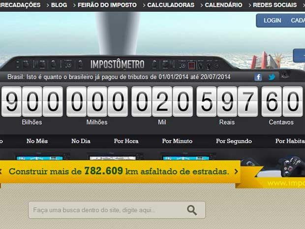 Impostômetro bate R$ 900 bilhões. (Foto: Reprodução / impostometro.com.br)