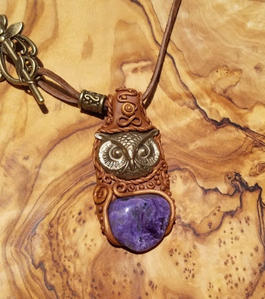 Charoite Pendant  with a Brass Owl A25 by GypsyOwlProductions