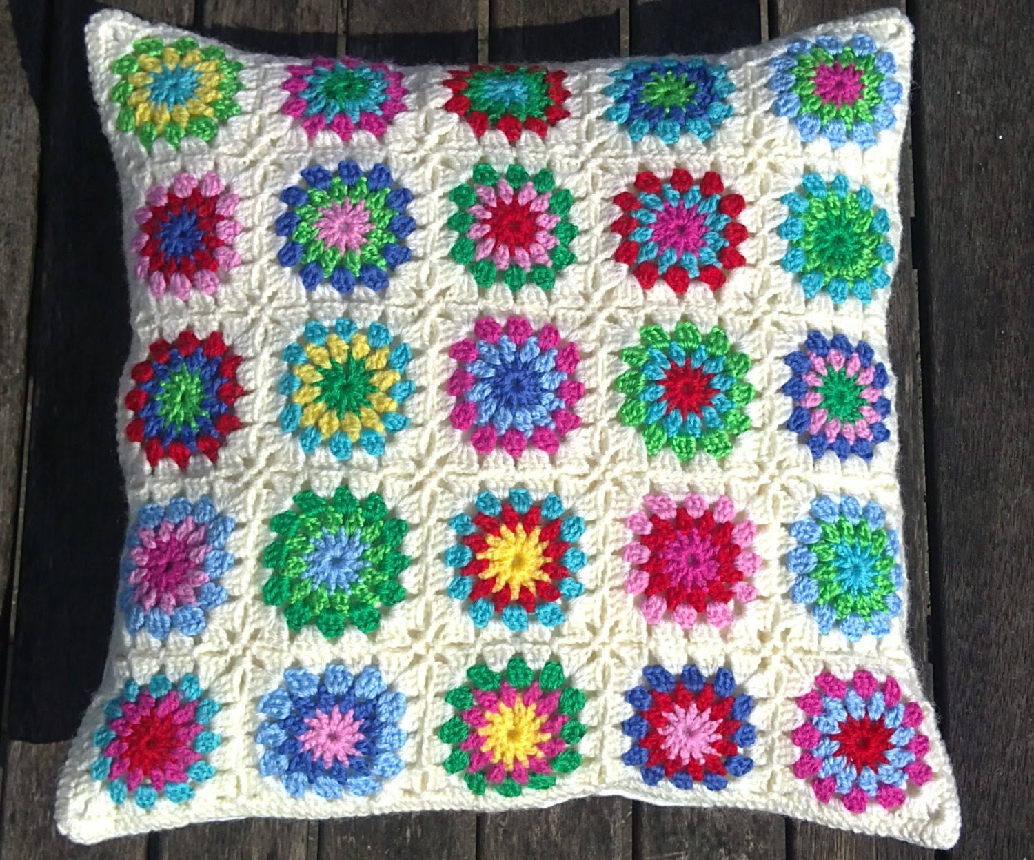 Crochet pillow,colorful pillow - Fokkiewooh
