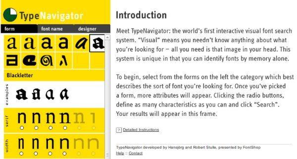 TypeNavigator - Herramienta web para tipografías