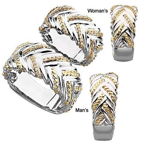 "Braided ""Three Fold Marriage"" Diamond Wedding Bands #1487"
