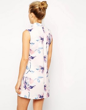 Image 2 of ASOS Shift Dress with High Neck in Scuba Floral Print