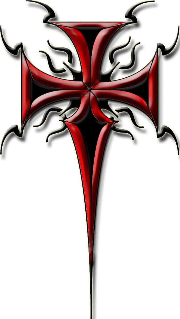 Red Ink Tribal Cross Tattoo Design
