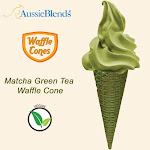 "Matcha Green Vegan waffle cone 2.16"" x 5.5"" (312 units / Box) by Aussieblends"