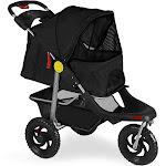 Oxgord Pet Stroller Cat Dog 3-Wheel Walk Jogger Travel Folding Carrier Deluxe, Black