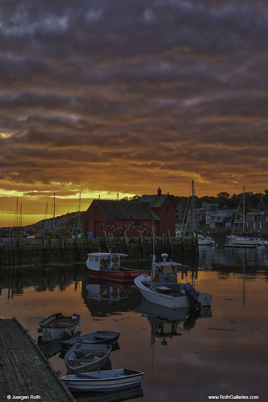 New England Photography of Sunrise at Motif #1 in Rockport Harbor