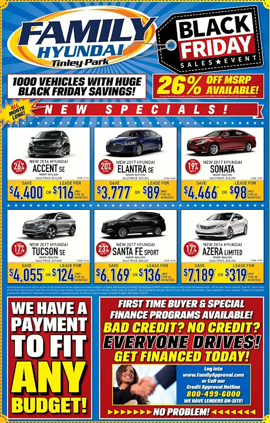 Huge sale at Family Hyundai in Tinley Park! New cars and used cars for sale near Orland Park. Dealership specials, rebates, and incentives.