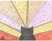 Kitty Sunset Art Print - ACatLikeCuriosity